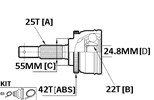 CV JOINT - 25X55X22 NISSAN (42T ABS)