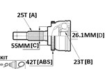 CV JOINT - 25X55X23 NISSAN (42T ABS)