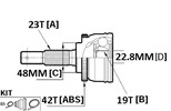 CV JOINT - 23X48X19 (42T ABS) NISS MARCH