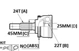 CV JOINT - 24X45X22 PRELUDE 1981-82