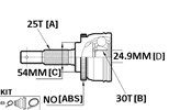 CV JOINT - 25X54X30 GALANT 4WD 87>